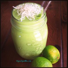 KEY LIME PIE GREEN SMOOTHIE:  coconut water, lime juice, avocado, unsweetened shredded coconut, dates, spinach