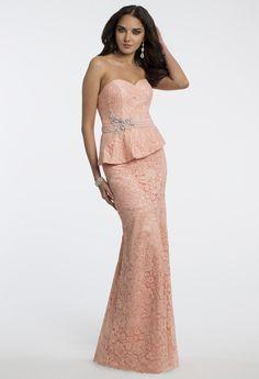 Camille La Vie Peplum Prom Dress with Matching Shawl