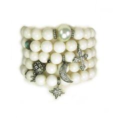 Diamond Charm Bracelet Stack by Nan Fusco
