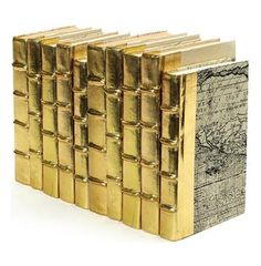 Linear Foot Vintage Hand Made Metallic Gold Decorative Books #Anthropologie #PinToWin