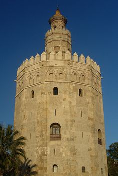 Torre del Oro         The 'Tower of Gold' on the banks of the Rio Guadalquivir in Sevilla, Spain, was built in AD 1220 by the Almohads  Torre del Oro   Flickr - Photo Sharing!
