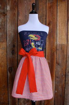 University of Kansas KU Jayhawks Game Day Strapless Dress - Size Small. $45.00, via Etsy.