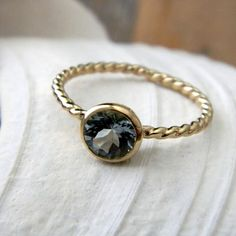 Blue Aquamarine and 14k Yellow Gold Ring