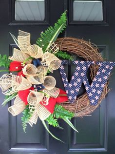 Hey, I found this really awesome Etsy listing at https://www.etsy.com/listing/181344456/summer-wreath-patriotic-wreath-fourth-of