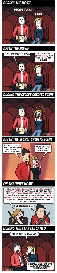 Dorkly Comic: What It's Like To See Every Marvel Movie (For Fans and Non-Fans)