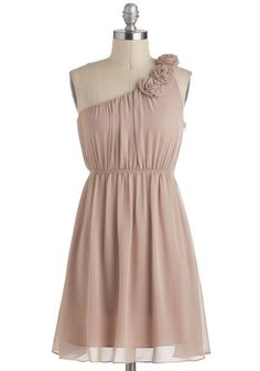 Special Some-One Shoulder Dress in Sand - Short, Tan, Solid, Flower, Party, A-line, One Shoulder, Prom, Graduation, Wedding, Bridesmaid
