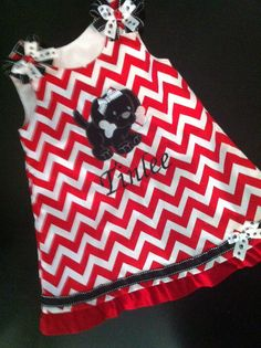 Red Chevron Puppy party dress