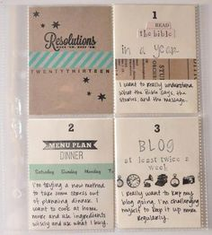 Resolutions Project Life insert by Swann Princess