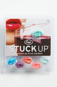 """""""Chewed gum"""" drink markers - hah!"""
