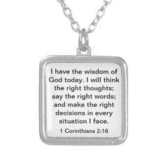 Wisdom of God bible verse 1 Corinthians 2:16 Necklace http://www.zazzle.com/wisdom_of_god_bible_verse_1_corinthians_2_16_necklace-177946046337093244?rf=238312613581490875