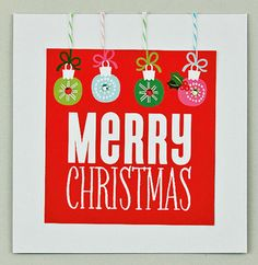 """White and Red """"Merry Christmas"""" with Ornaments Card, mambi cards items. (me & my BIG ideas)"""