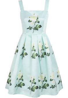 Green Sleeveless Rose Print Flare Dress