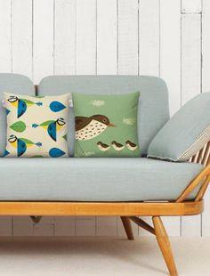 Very cute British birds cushions - love 1950s retro  lovehome.co.uk