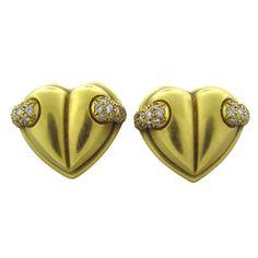 KIESELSTEIN CORD Diamond Heart Gold Earrings