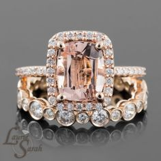 Morganite and Rose Gold Engagement Ring and by LaurieSarahDesigns this is not what I thought I was looking for but I LOVE THIS so much. I know I said I didn't want bezel setting but I like how it looks on this wedding band