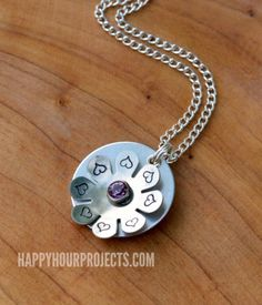 Stamped and Riveted Floral Necklace at HappyHourProjectscom
