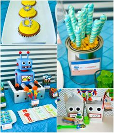 Robot Party with REALLY COOL IDEAS via Kara's Party Ideas | Kara'sPartyIdeas.com #Robot #Science #Ideas #Supplies #Cake #party