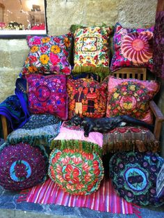Old Town, Rhodes, Greece --- I love the cushions!  And a cat :)  I want them all!  Though I do have my own cat...