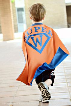 Would be cute to have each one customized with each child initial. SUPERHERO CAPE reversible Personalized cape with straight edge You choose colors. $16.00, via Etsy.