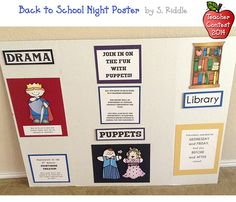This fun poster was made by S. Riddle for Back to School Night. It quickly catches your attention with cute clip art... & is also informative! The goal is to get students interested in performing puppets and drama, & get parents to serve in the library.  DJ's Back to School Teacher Contest 2014