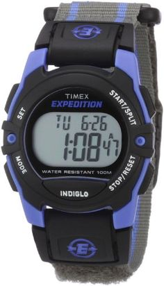 Timex Unisex T49660 Expedition Classic Digital Chrono Alarm Timer Blue/Gray Fast Wrap Velcro Strap Watch  and see more Timex kids watches at http://pinterest.com/sulias/timex-kids-watches/