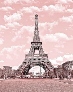 Paris in pink, Eiffel Tower, Paris Decor, France 8 x 10 Digital Printable Fine Art Photography, E5. $9.99, via Etsy.