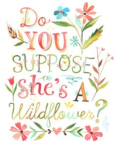 """From Alice in Wonderland: Daisy: """"What kind of a garden do you come from?"""" - Alice: """"Oh, I don't come from any garden."""" - Daisy: """"Do you suppose she's a wildflower?"""" / Created by Katie Daisy"""