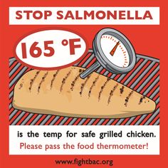 Chicken should be cooked to 165 degrees to kill Salmonella!  Time to get a meat thermometer!