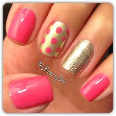 Fun Pink & Gold Polka Dot Glitter Nails.  Colors used: Gelish - Passion & Meet the King. Martha Stewart Glitter - White Gold