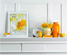 Summertime colors on a white fireplace