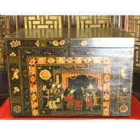 Antique Asian Chinese Furniture Black  Opera Trunk with Painted designs