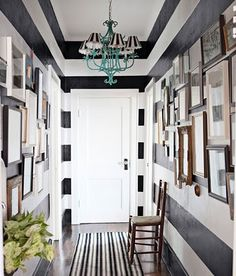 color, gallery walls, black white, foyer, paint, hous, striped walls, hallway, entryway