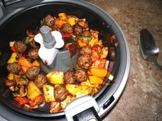 Meatball Special With Peppers And Taters (Actifry) meatbal special, peppers, actifri recip, tefal actifry recipes, tater actifri, potato, everyday recipi, tfal actifri, tefal actifri