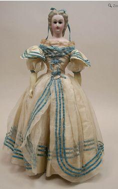 Rare Antique All Original Wax Over Composition Lady Doll Circa 1860's