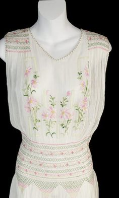 20's cotton voile embroidered dress