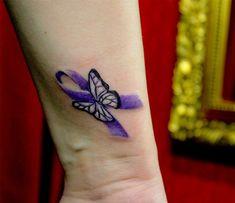 fibromyalgia tattoos, portrait tattoos, cover up tattoos, alzheimers tattoo, purple ribbon tattoo