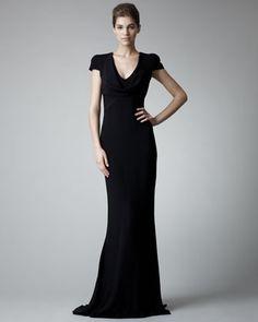 Alexander McQueen Fitted Cap-Sleeve Gown, Black - Neiman Marcus
