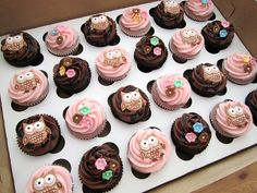 Owl Baby Shower Cupcakes by Cutie Cakes WY via Flickr