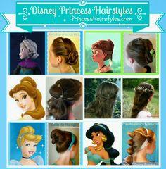 6 Disney Princess Hair Tutorials.  Elsa, Anna, Belle, Aurora, Cinderella, Jasmine.