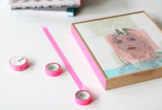 Add washi tape to one side of a frame for a less permanent and quick alternative to painting