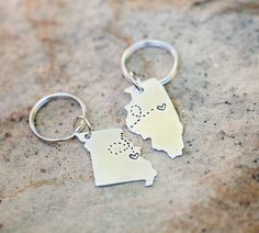 CUSTOM Long Distance Love KEYCHAINS Best Friend Gift by Nelliebead. I love this idea.
