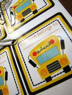 maybe a book as party favor? with this School bus book plate