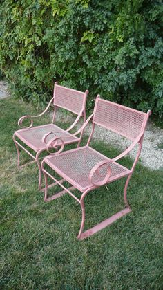Wrought Iron Scroll Arm Chairs painted in light pink; I may just have to give my wrought iron patio furniture a make over this spring