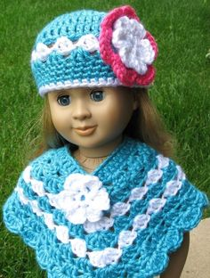 Pattern in PDF -- crocheted doll poncho for American Girl