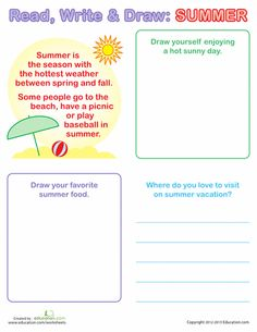 Worksheets: Summer Writing For Kids