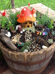 garden ideas, fairies, fairi garden, fairy houses, bucket, play areas, mini gardens, kid, gnome garden