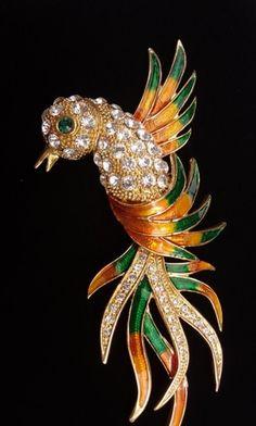 "Huge Enamel Rhinestone Hummingbird Bird 5 3/4"" Figural Vintage Brooch | eBay"