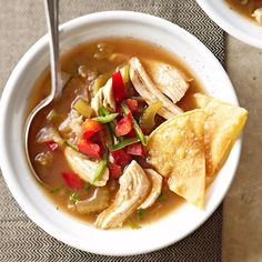 If you like spicy dishes, you'll love our Tomatillo Chicken Soup. Recipe: http://www.bhg.com/recipe/chicken/tomatillo-chicken-soup/?socsrc=bhgpin100512tomatillochickensoup