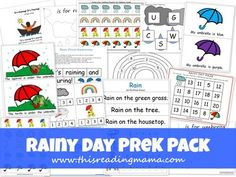 FREE Rainy Day PreK Pack