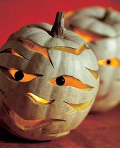Mummy Pumpkins - Halloween #halloween #pumpkin #pumpkins #great #decor #ideas #cool #scary #spooky #neat #fall #decorations #party #mummy #carving #g_michael_salon #indianapolis www.gmichaelsalon.com